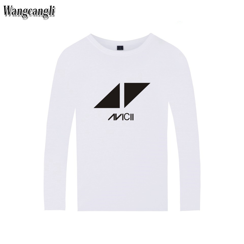 2017 DJ Avicii Logo T-shirt Men Cotton Fans Tshirt Homme Long Sleeve Autumn Fashion Print T-shirt Top Plus Size 4xl wangcangli
