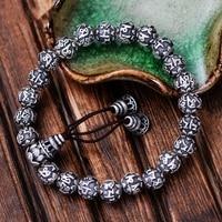 MetJakt Bouddhisme Mantra Bracelet Solide 999 En Argent Fin Bouddha Perles Bracelet pour Unisexe Vintage Bijoux Étirement 17-22 cm