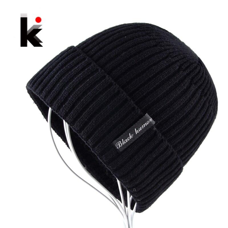 4fe74423c253 2018 Winter Beanies Knitted Hat For Men Add Velvet Thick Skullies Bonnet  Outdoors Sport Knitting Caps Boy Bone Toucas de inverno