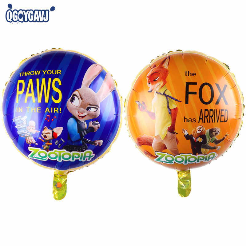 QGQYGAVJ Zootopia Design Foil Balloons Helium Judy Nick Birthday Balloon Party Supplies Toys Rabbit Fox Captian