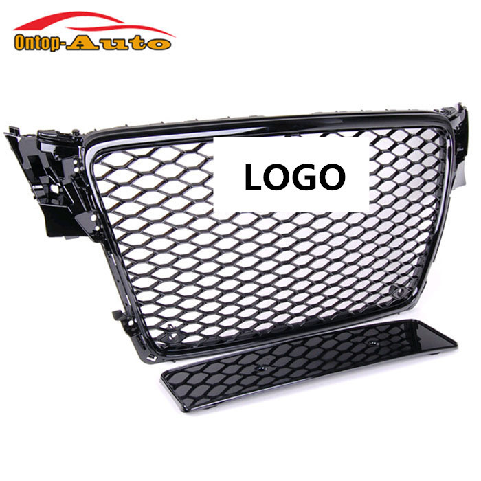 RS4 Style Quatrro Glossy Black Honeycomb Front Mesh Grill Grille for Audi A4 S4 B8 BK 2009-2012 Avant
