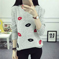 Autumn Winter Women Sweater Harajuku Pullover Women lip ashmere Embroidery Knitted Sweater Pullover Sweaters