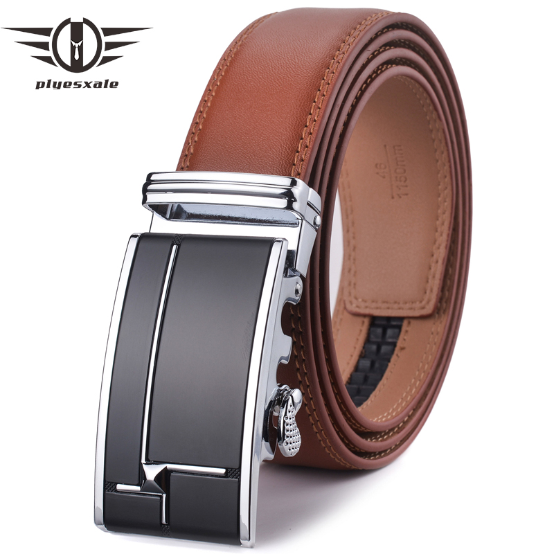 Plyesxale Mens Belts Luxury Genuine Leather Brown Diamond Pattern Automatic Buckle Belt For Men Brand Formal Waist Strap G31