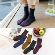 цена Autumn Winter Wool Thicken Warm Basic Colors Socks Pure Cotton Coarse Thread Vintage Style Stocks