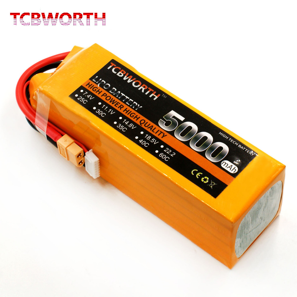 TCBWORTH RC LiPo battery 6S 22.2V 5000mAh 35-70C For RC Airplane Helicopter Quadrotor AKKU Drone Li-ion battery tcbworth rc drone lipo battery 7 4v 5000mah 35c 2s for rc airplane quadrotor helicopter akku car truck li ion battery