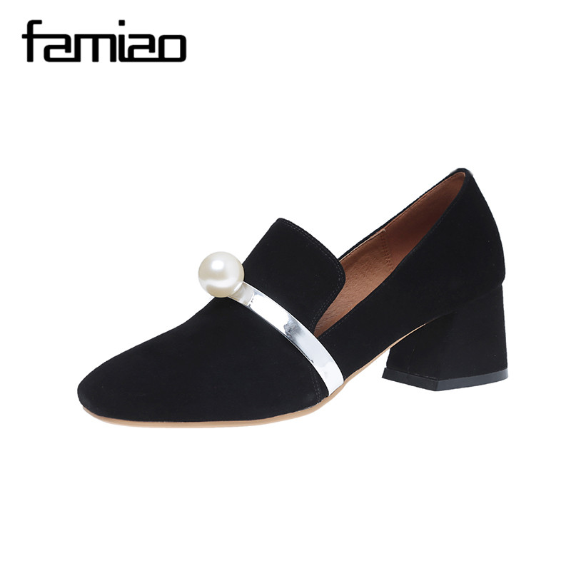 FAMIAO crystal women shoes Pearl ladies pumps high heel party square heel wedding shoes office escarpins femme  zapatos mujer fashin new stunning rhinestone pearl wedding shoes crystal pride pedding high heel pumps dress pearl pregnant pumps shoes
