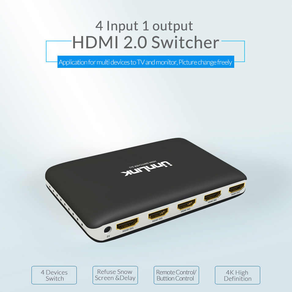 Unnlink Hdmi Switch 4x1 Hdmi 2 0 Uhd 4k 60hz Hdcp 2 2 4 In 1 Out Ir Remote For Xbox One S Ps4 Pro Smart Led Tv Mi Box Projector 4 Port Hdmi Switch Hdmi Splitter