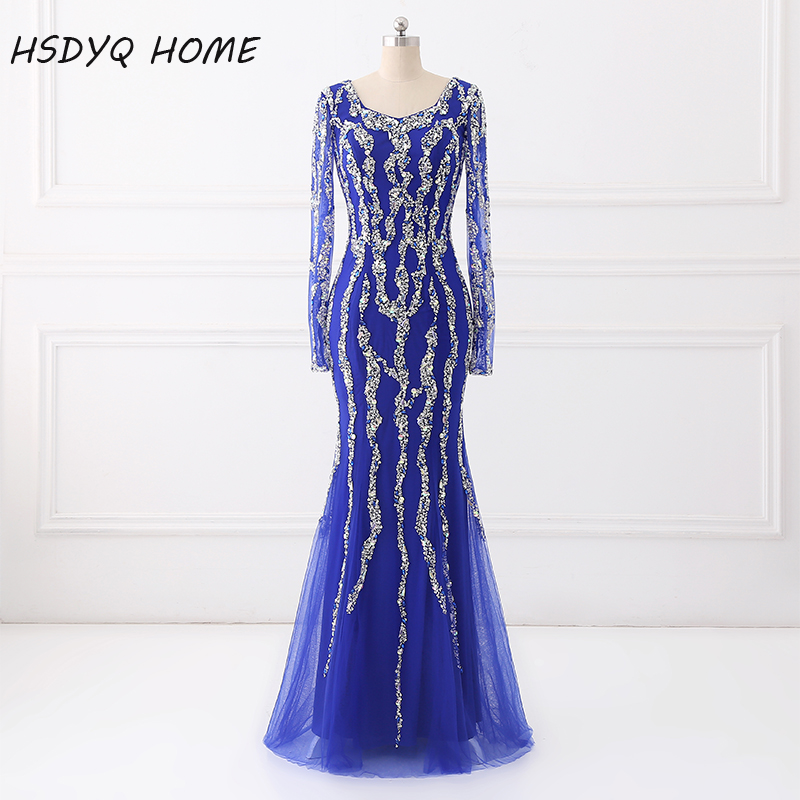 African Long sleeve Beading   Evening     Dress   Crystal Mermaid   Evening   Gown Real Photo Party   Dress   New arrival vestido de festa 2017