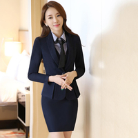 2017 Plus Size Sexy Work Business Skirt Suits Set Blazers Office Casual Formal Women OL Elegant Skinny Cut Out Black Runway Suit