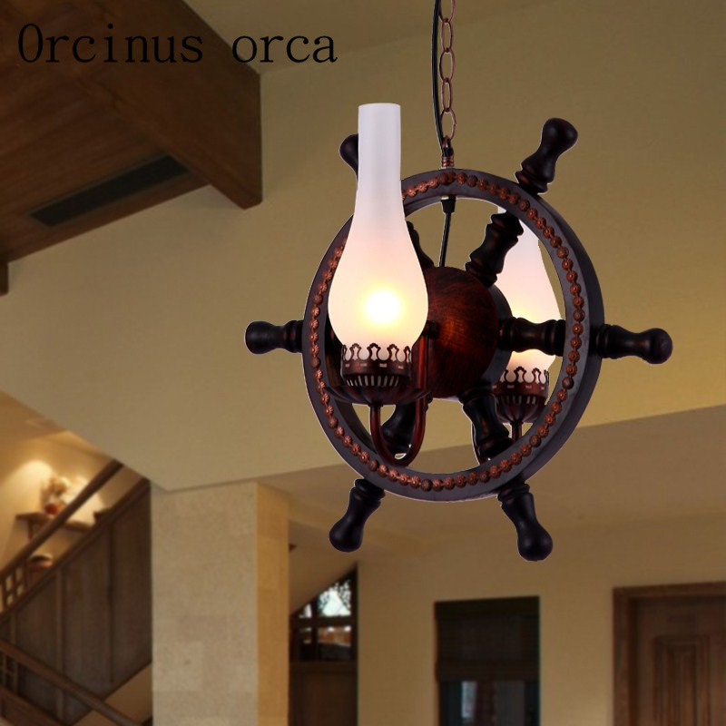 Retro wrought iron Mediterranean rudder chandeliers restaurants bars coffee personalized European solid wood Chandelier vintage clothing store personalized art chandelier chandelier edison the heavenly maids scatter blossoms tiny cages
