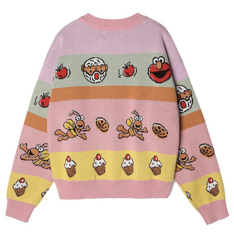Harajuku ออกแบบฤดูหนาวเสื้อกันหนาวผู้หญิงฤดูใบไม้ร่วงถักเสื้อ Jacquard หญิงถักเสื้อกันหนาว