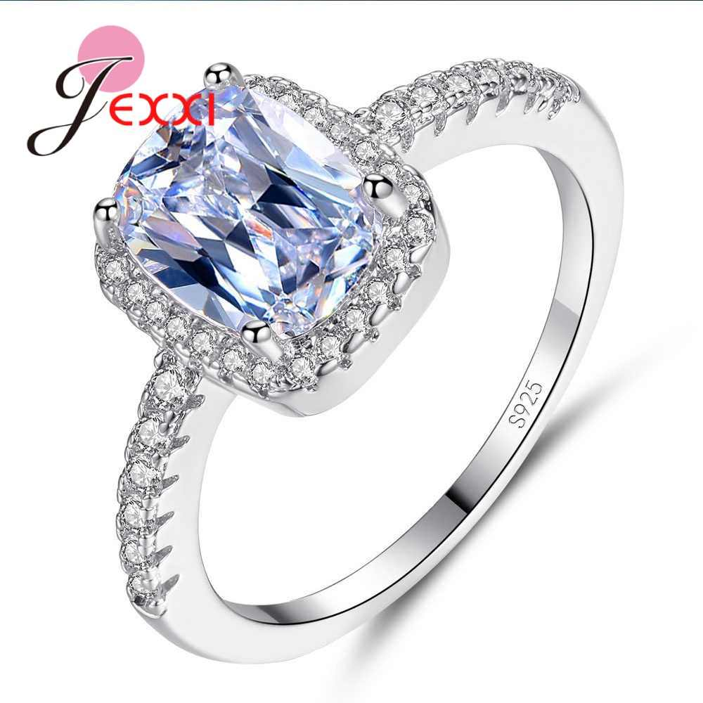 100% New Attractive Square CZ Rings For women Girls 925 Sterling Silver Wedding Engagement Party Finger Rings Big Sale