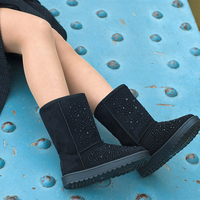 UKNIKI Comfortable Women Winter Boots Snow Boots Mid Calf Slip On 2017 Fashion Womens Solid Basic