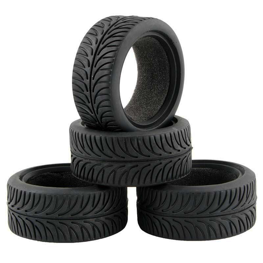 4PCS High Grip Black Rubber Tyre Wheel Tires for 1:10 4WD RC On Road Touring Car Traxxas Tamiya HSP HPI Kyosho 2pcs traxxas original 1 5 x maxx tires wheels tire tyre for 1 5 traxxas x maxx rc monster truck model 7772