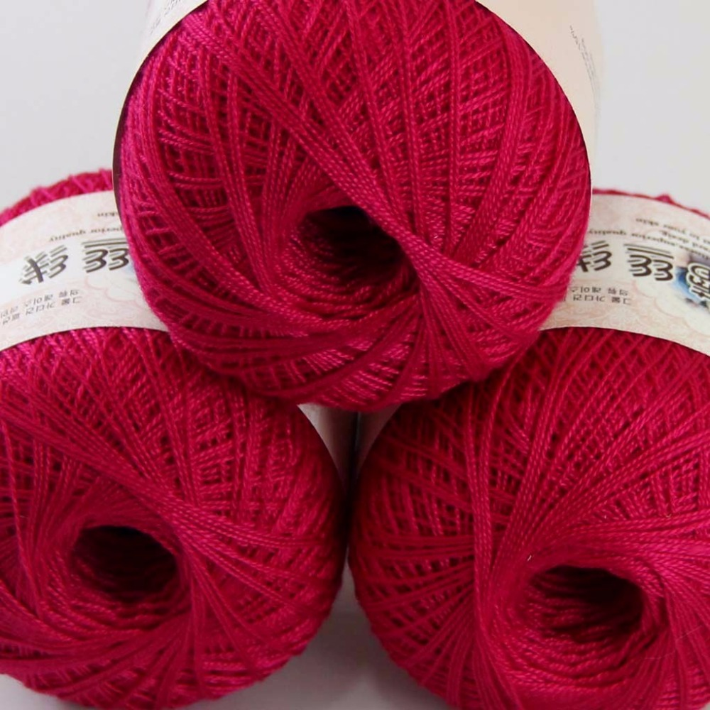 3ballsx50g New Soft Hand Cotton Lace Wool Yarn Crochet Shawl Scarf Knitting Rose Red 16117-3 Electronic Components & Supplies