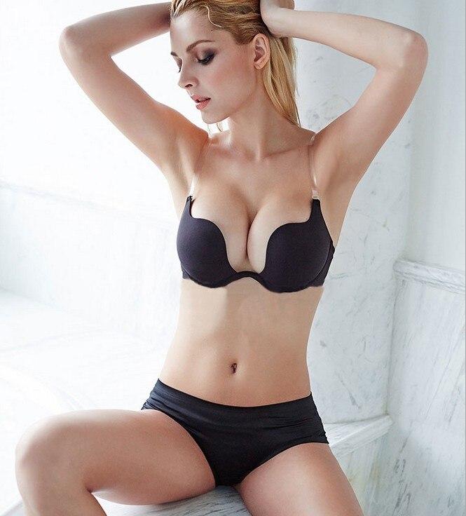 PRAYGER Invisible Backless Women Sexy Bras Party Dress Extend Straps Bra Cross Push Up Bra Underwear Low V neck Bralettes