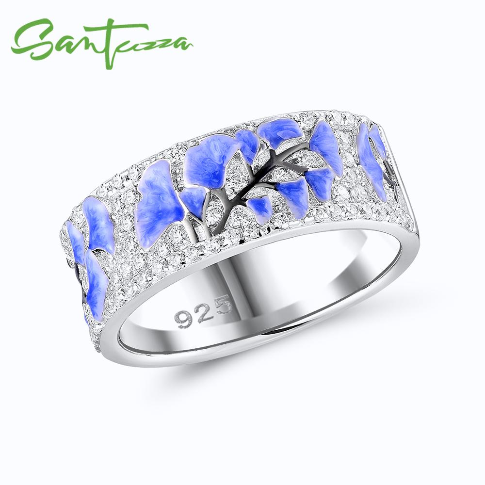 SANTUZZA Silver Rings For Women 925 Sterling Silver Newest Design Shiny Cubic Zirconia Ring Fashion Jewelry Enamel Handmade