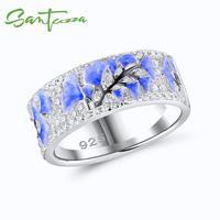 SANTUZZA Silver Rings For Women 925 Sterling Silver Newest Design Shiny Cubic Zirconia Ring Fashion Jewelry Enamel Handmade