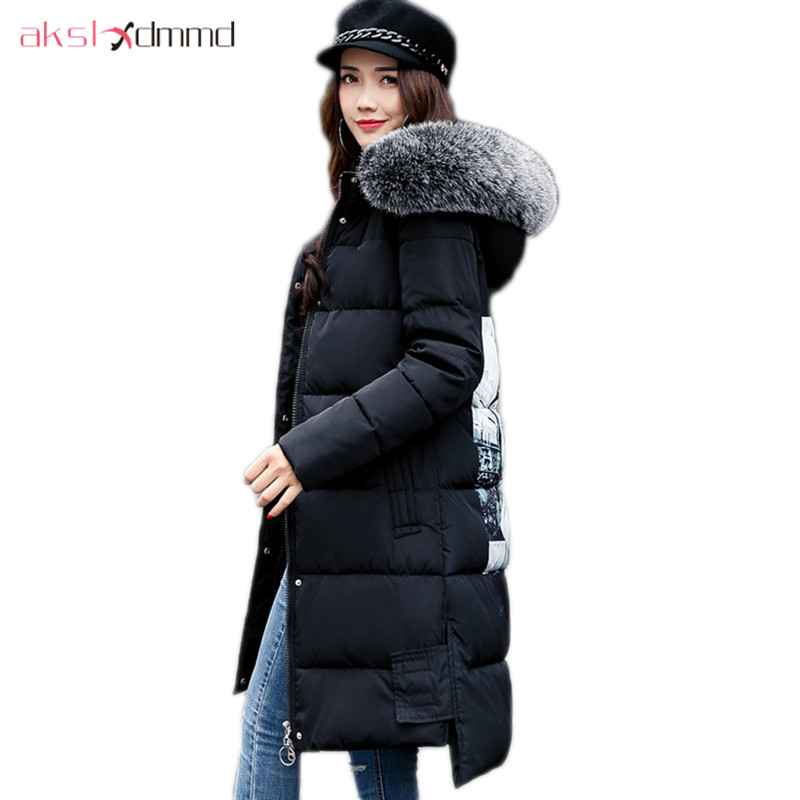 AKSLXDMMD Parka Mujer Winter Jacket Women 2017 New Big Fur Hooded Printed Thick Slim Long Winter Coats Female Jackets LH1079 akslxdmmd parkas mujer back printed thick witner women jacket 2017 new fashion slim fur collar hoodies long coat female lh1065