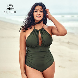 Image 1 - CUPSHE Plus Size Olive Halter One Piece Swimsuit Sexy Cut out Backless Lace Up Women Monokini Bathing Suits 2020 Beach Swimwear