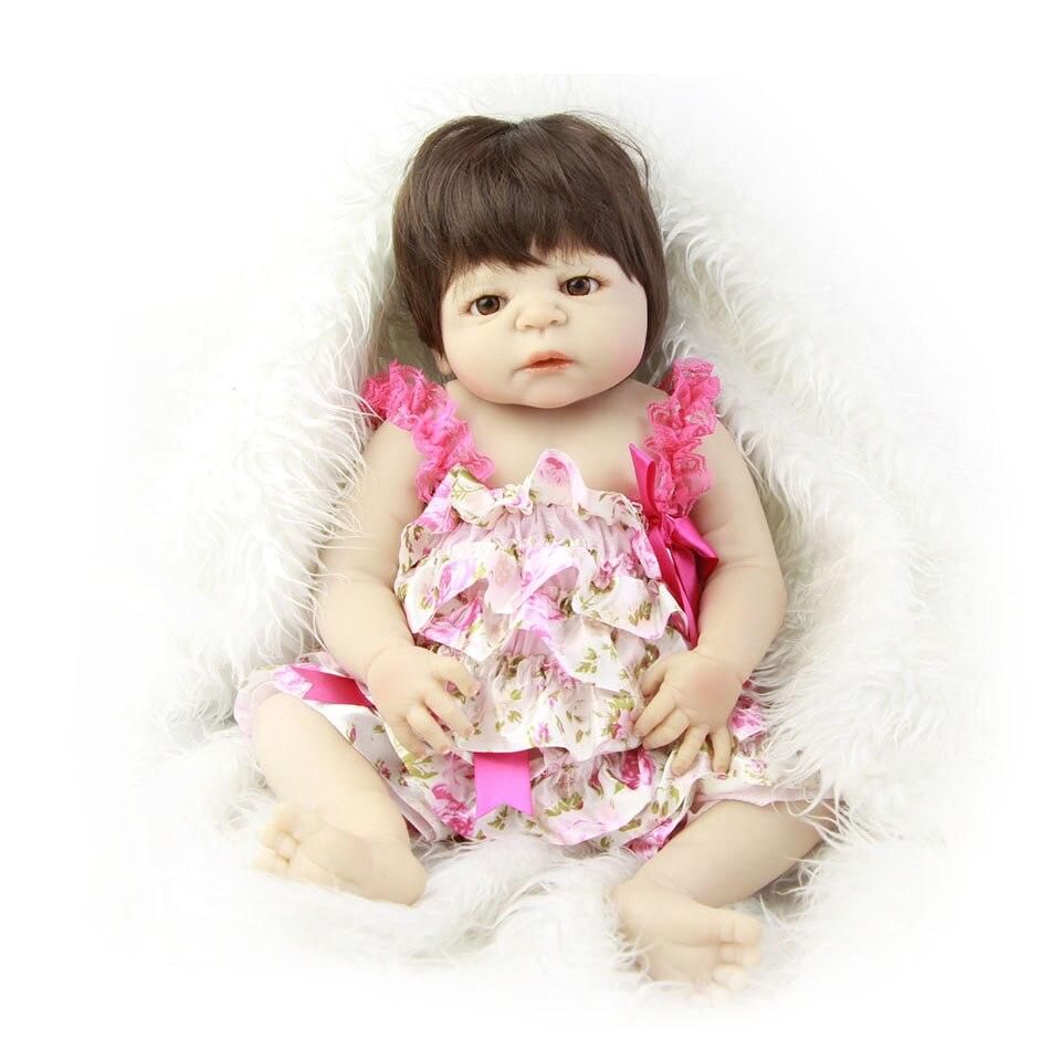 Newborn Doll 23 Inch Full Silicone Body Baby Dolls Realistic 57 cm Girl Reborn Baby Doll Kids Toy Boneca Reborns Xmas Gifts economic newborn baby model flexible full term baby doll