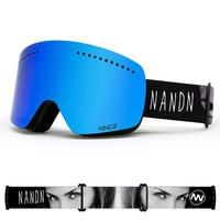 NANDN Ski Goggles UV400 Anti Fog Double Lens Big Ski Mask Glasses Skiing Men Women Snow Snowboard Goggles Snow Sports Skiing