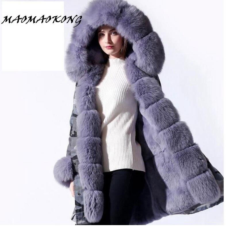 2017 new parka real fur coat winter jacket women natural big fox Fur Collar hooded Thick Warm rabbit Fur liner parkas