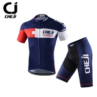 CHEJI Dark Blue Cycling Jersey Racing Sport Bike Jersey Tops Shorts Padded Set Mtb Bicycle Cycling