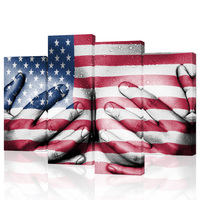 4 Piece Nude Sweaty Woman Canvas Wall Pictures Hands Covering Breasts Vintage Flag of the USA Hot Body Painting for Living Room
