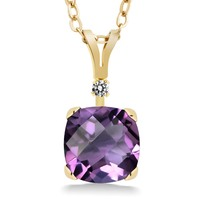 1 32 Ct Cushion Checkerboard Purple Amethyst White Diamond 14K Yellow Gold Pendant