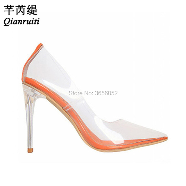Qianruiti New Designer Shoes Crystal Jelly Pumps Clear Stiletto High Heel  Party Dress Tacones Sexy Pointed Toe Transparent Heels a673854b089f