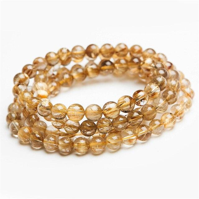 Genuine Brazilian Natural Gold Hair Needle Rutilated Quartz Crystal Round 108 Beads Charm Three Laps Bracelet
