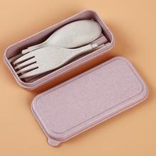 Портативный набор столовых приборов из пшеничной соломы, вилка, складные палочки для еды, набор столовых приборов с коробкой для пикника, кемпинга, путешествий, набор посуды