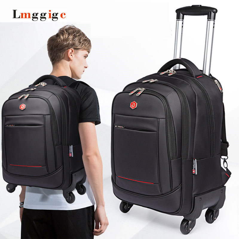 Universal Uheels Trolley Travel Suitcase Double-shoulder Backpack Bag with Rolling Multilayer School Bag Commercial Luggage vintage suitcase 20 26 pu leather travel suitcase scratch resistant rolling luggage bags suitcase with tsa lock