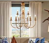 American Simple Retro Crystal Chandelier French Candle Iron Villa Double Staircase Lamp Bedroom Lamp WPL265
