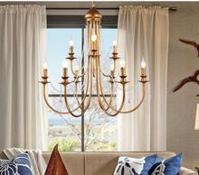 Americano retro simples lustre de cristal Francês vela ferro lâmpada quarto lâmpada villa escadaria dupla WPL265