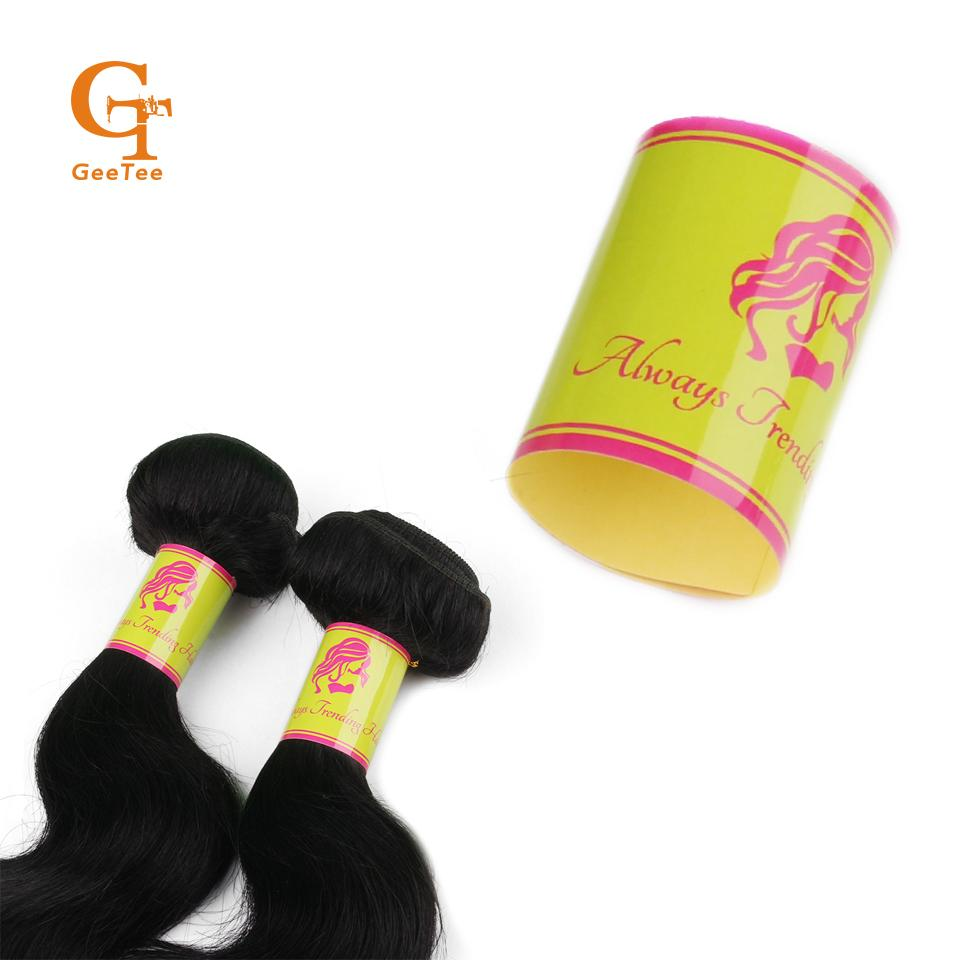 Custom logo virgin human hair bundle extensions packaging wrap stickers customized brand self adhesive hair labels stickers in garment labels from home