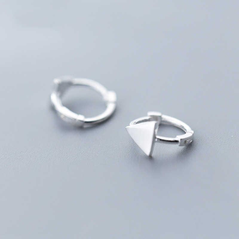 358f2325b 925 Sterling Silver Geometric Triangle Hoop Earrings for Women Girls Simple  Ear Piercing Huggie Earrings Bohemia