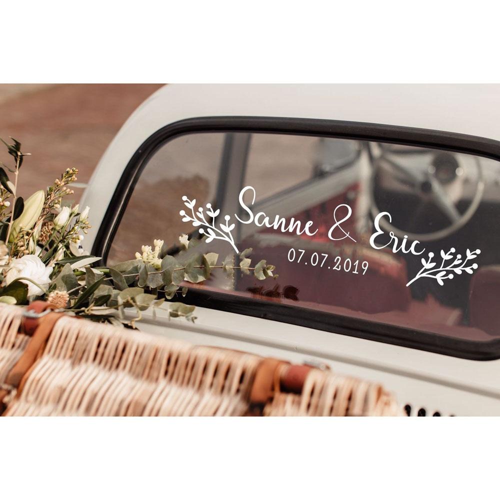 Floral Custom Name Date Car Sticker Vinyl Art Design Flower Personalized Name Wedding Decoration Bride Groom Names LY1657