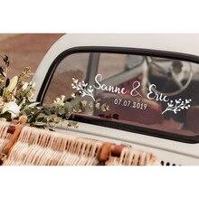Floral Custom Name Date Car Sticker Vinyl Art Design Flower Personalized Wedding Decoration Bride Groom Names LY1657
