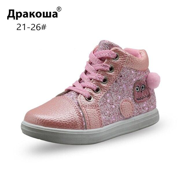 2a47fcb6b8cf2 Apakowa otoño primavera Bling tobillo botas para niñas niños de los niños  de la Escuela de moda Zapatos casuales zapatos con soporte de arco nuevo