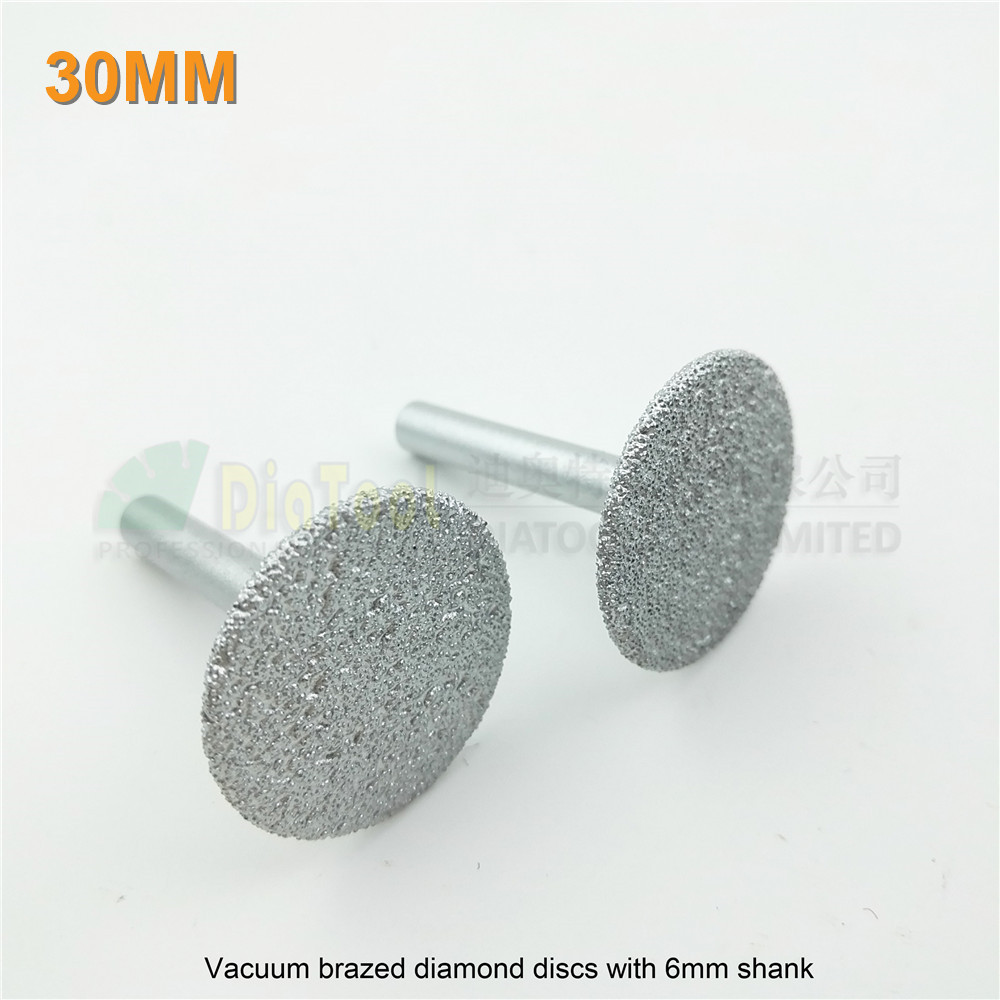DIATOOL 2pk Dia30mm Vacuum Brazed Diamond Discs With 6mm Shank For Cutting Grinding And Engraving Diamond Saw Blade Grit #46