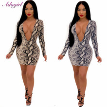 Women Front Zipper Sexy Snake Print Bodycon Dress Deep V Neck Long Sleeve Sheath Mini Night Club Party Dresses Female Outfits black crossed front design deep v neck mini dresses
