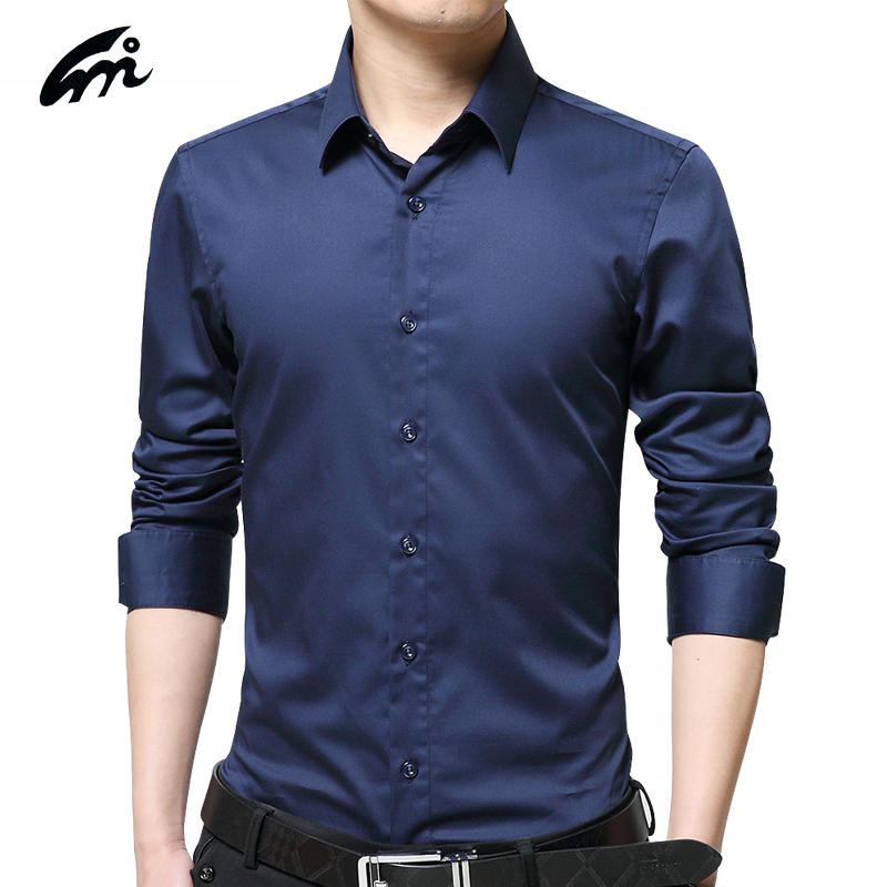 2017 mens long sleeve shirts new fashion style solid for Men s regular fit shirts