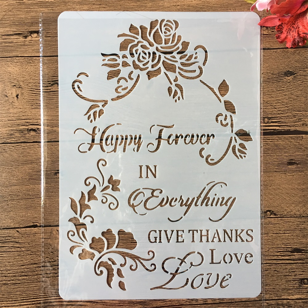 A4 Happy Forever Words Flower DIY Craft Layering Stencils Painting Scrapbooking Stamping Embossing Album Paper Card Template