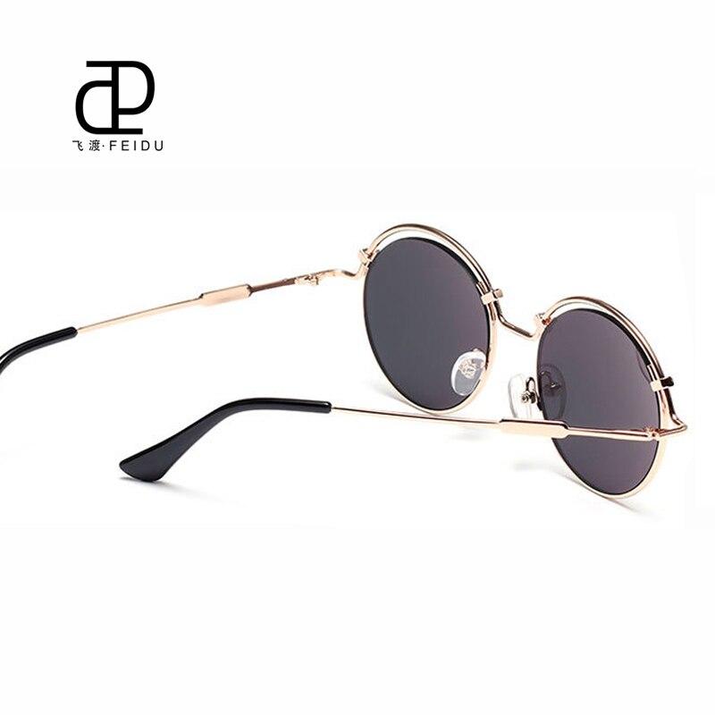 FEIDU круглый стимпанк Защита от солнца очки Для женщин покрытие металлические храмы Солнцезащитные очки для женщин модная обувь на плоской п...