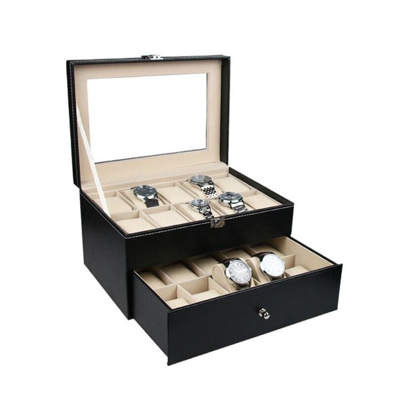 2016 livraison gratuite deux niveaux boîte à bijoux noire boîte de rangement de cercueil pour bijoux exquis montre but bijoux affichage organisateur