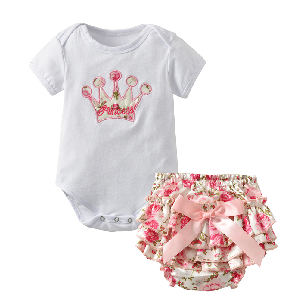 3462f64acab Hot sell Summer Newborn Baby Girls Clothes Short Sleeve Party Crown Romper  Floral Pants Infant Baby