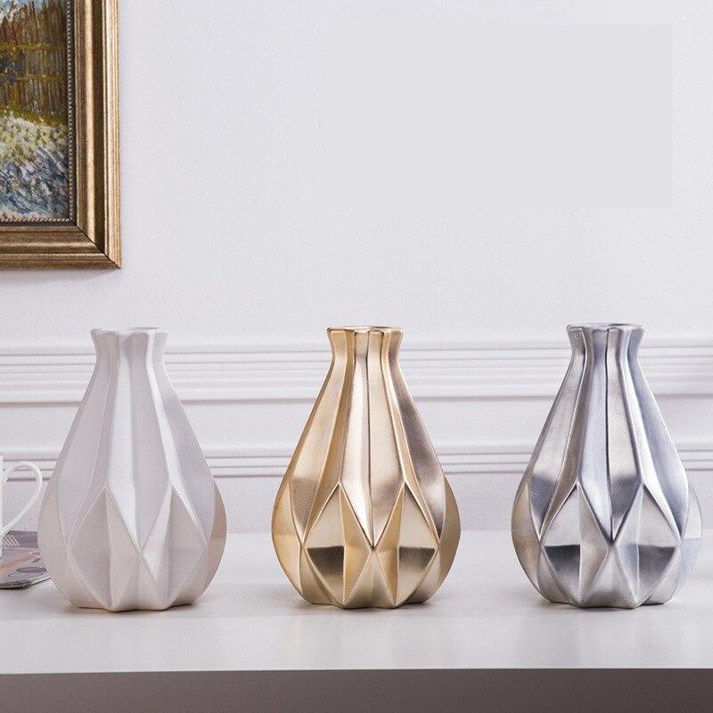 1 Pcs Nordic średniej Ceramicznej Złoty Wazon Ozdoby Srebrne