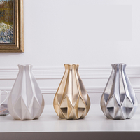 1pcs Nordic Medium Ceramic golden vase silver ornaments gifts white vases crafts decorative for Home wedding decoration